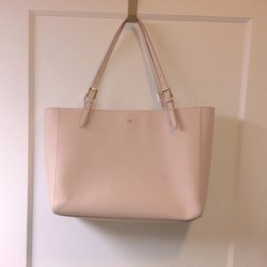 Tory Burch / blush pink leather tote bag